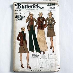VTG 70s Butterick Sewing Pattern 3389 Jacket